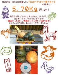 2015『おばけかぼちゃ重さ当て』結果発表!!